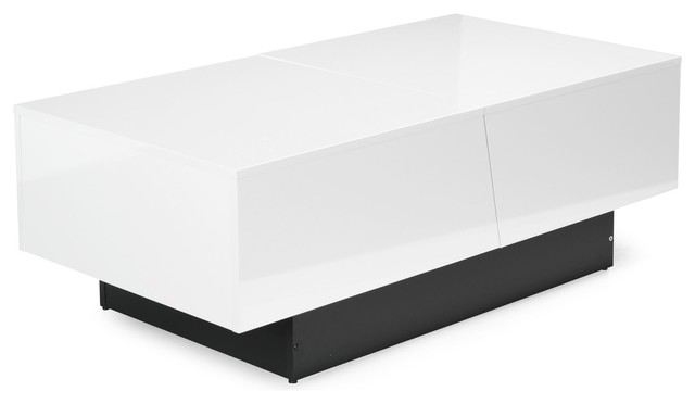 Pero table basse blanche avec rangement malin contemporain table basse - Table basse avec rangement bouteille ...