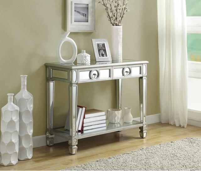 Mirrored 38 inch sofa console table with two drawers contemporary console tables by - Mirrored console table overstock ...