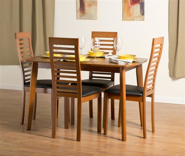 Dayton Dining Table Set With Denver Chairs In Cherry Contemporary Dining Table Sets By
