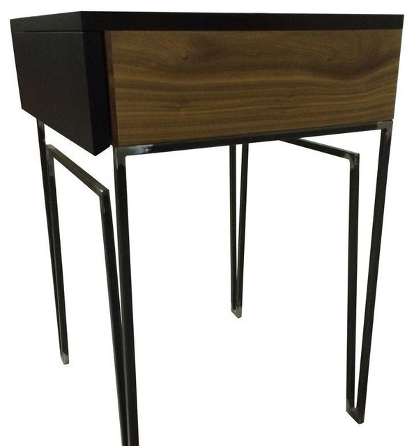 Black side tables pair modern nightstands and for Modern bedside tables nightstands