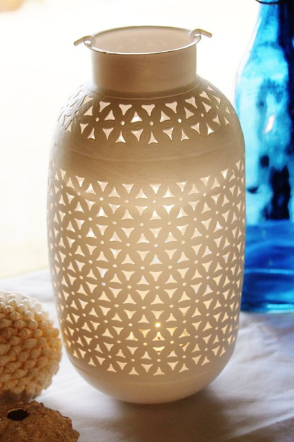 White punched metal candle holder traditional candle - Punched metal candle holder ...