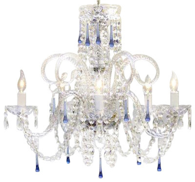 Swarovski Blue Crystal Trimmed Chandelier Traditional Chandeliers By Gallery