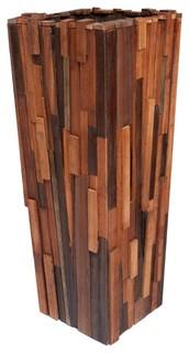 Salvaged Wood Planter Medium Contemporary Indoor Pots