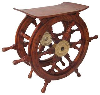 Ship wheel table wood and brass 24 modern for Dekofiguren modern