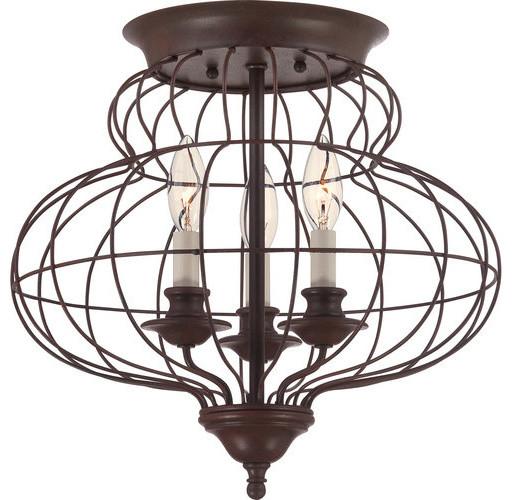 """Quoizel Laila 3 Light 15""""W Flush Mount Ceiling Fixture Rustic Antique Br"""