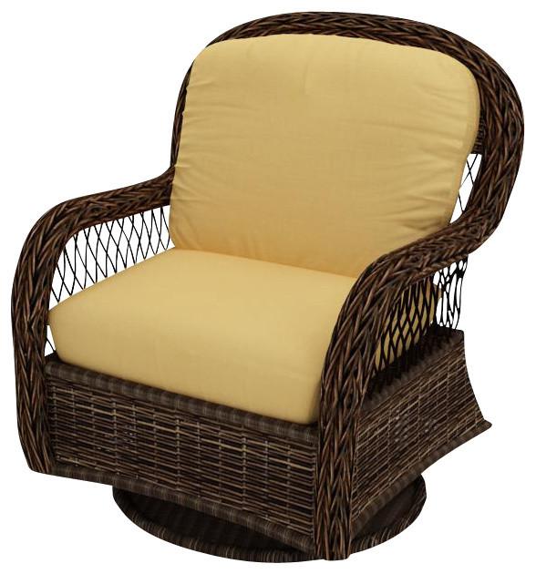 Leona Wicker Patio Swivel Glider Chair Canvas Wheat Cushions Traditional