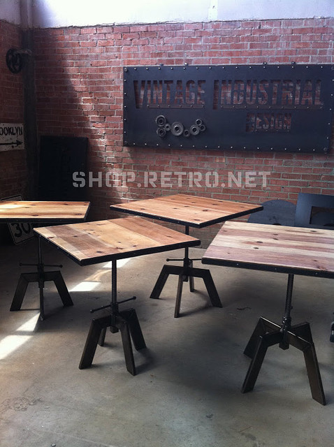 industrial adjustable cafe dining table eclectic dining tables