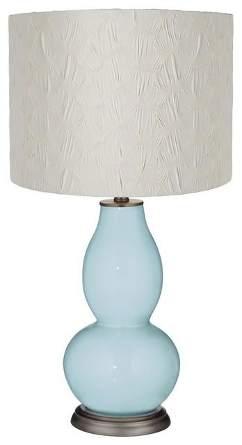 Vast Sky Cream Pleated Drum Shade Double Gourd Table Lamp