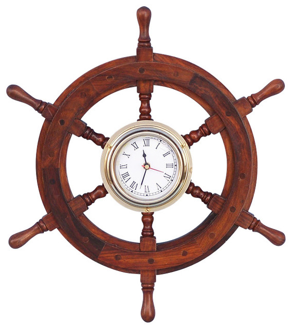 wooden ship wheel clock beach style wall clocks by handcrafted nautical decor. Black Bedroom Furniture Sets. Home Design Ideas