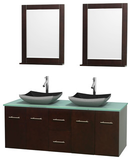 Centra 60 Espresso Double Vanity Green Glass Top Altair Black Granite
