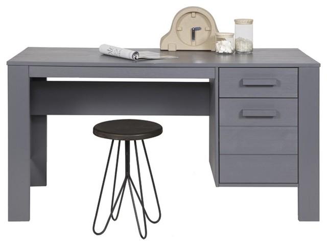 Bureau en pin bross denis couleur gris moderne meuble for Meuble bureau pin