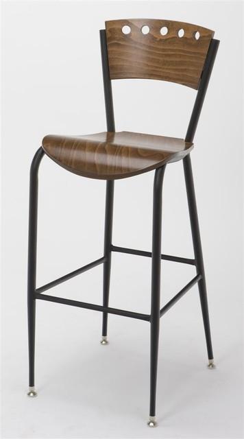 metal bar stool w wooden seat back in walnu