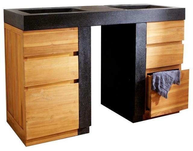 Meuble avec vasque en bois de teck 140 mary jane for Meuble 8 cases