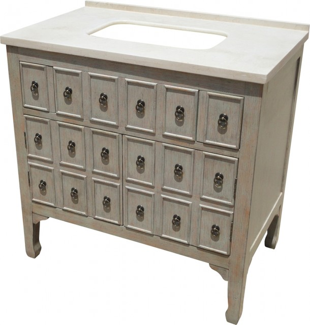 Caroline Single Bathroom Vanity Cabinet Set Gray 36