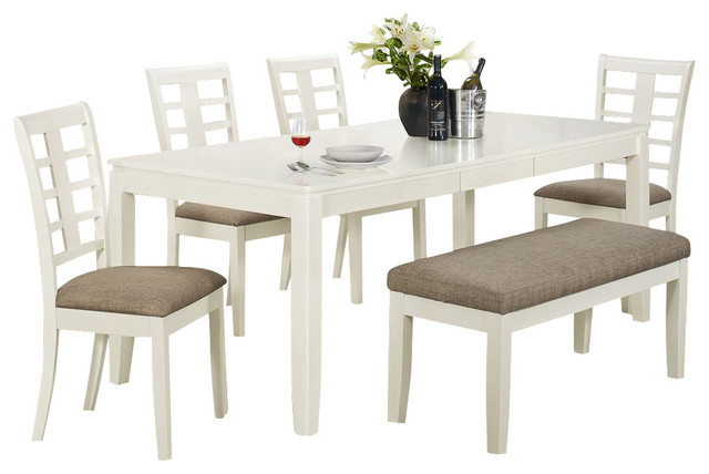 Beach Style Dining Sets: Monarch Specialties 6 Piece Rectangular Dining Room Set