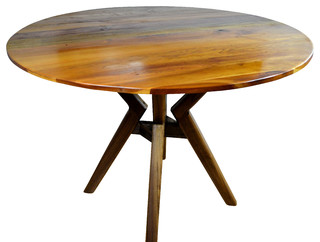 40 round dining table walnut stand midcentury dining tables by richard larow. Black Bedroom Furniture Sets. Home Design Ideas