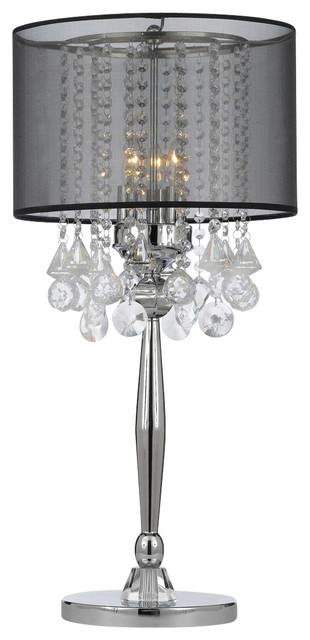 Silver Mist 3 Light Chrome Crystal Table Lamp With Black