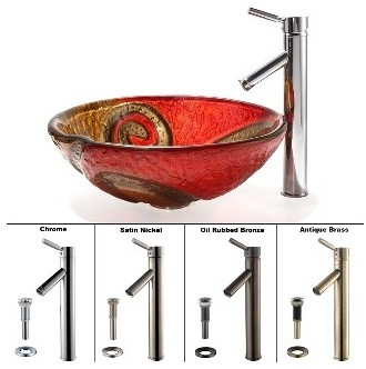 Kraus Copper Snake Glass Vessel Sink and Sheven Faucet