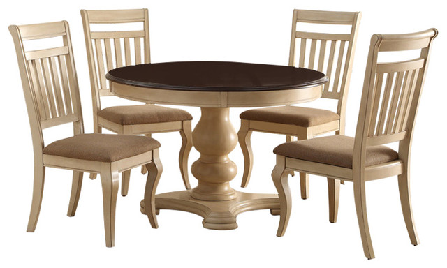 Charming Casual Country Buttermilk 2 Tone Round Dining Table Dining Sets By Redchairfurniture
