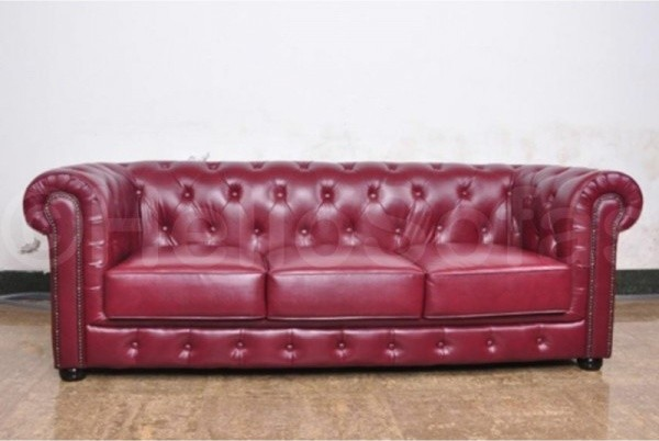 Bury Red Chesterfield Leather 3 Seater Sofa With Buttoned Back Traditional Sofas other