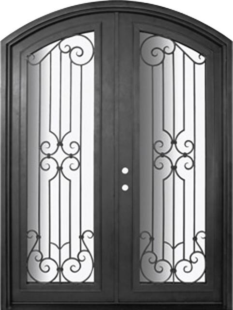 Milano 72x96 arch top wrought iron double door 14 gauge for 14 gauge steel door