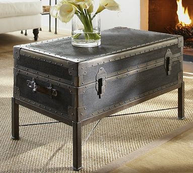 Ludlow Trunk With Stand Coffee Table Black Traditional