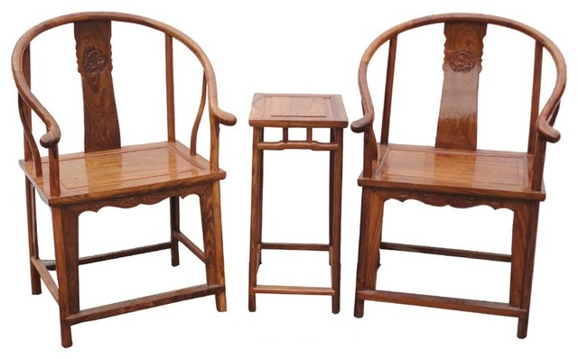 Pair Chinese Yellow Brown Elm Wood Horseshoe Arm Chair