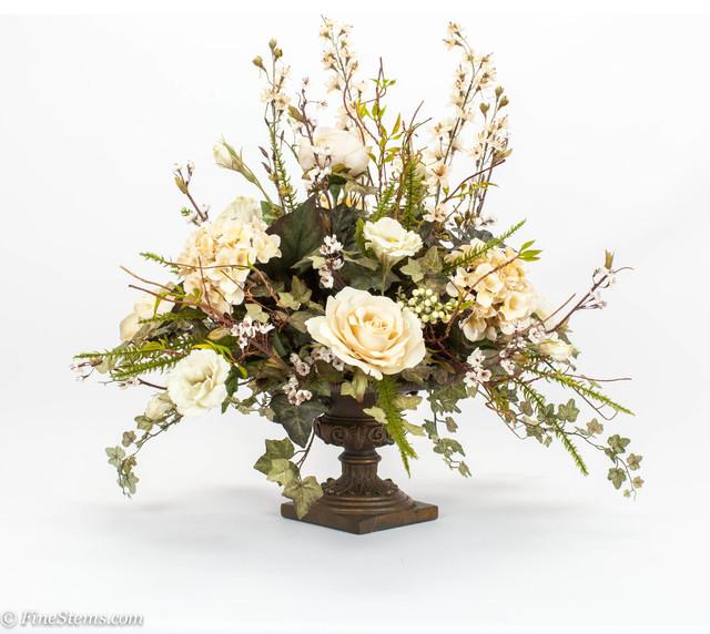 Cream Centerpiece Silk Floral Arrangement Placed In A