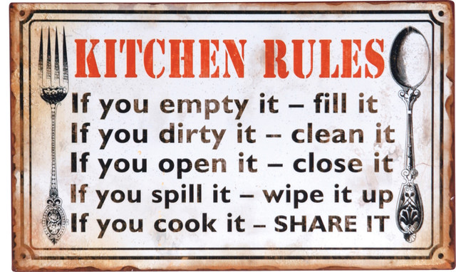 "Decoupage Metal ""Kitchen Rules"" Wall Sign - Rustic - Novelty Signs - by Wilco Home"