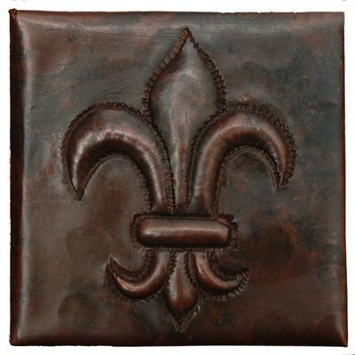2 X 2 Fleur De Lis Design Copper Tile Traditional