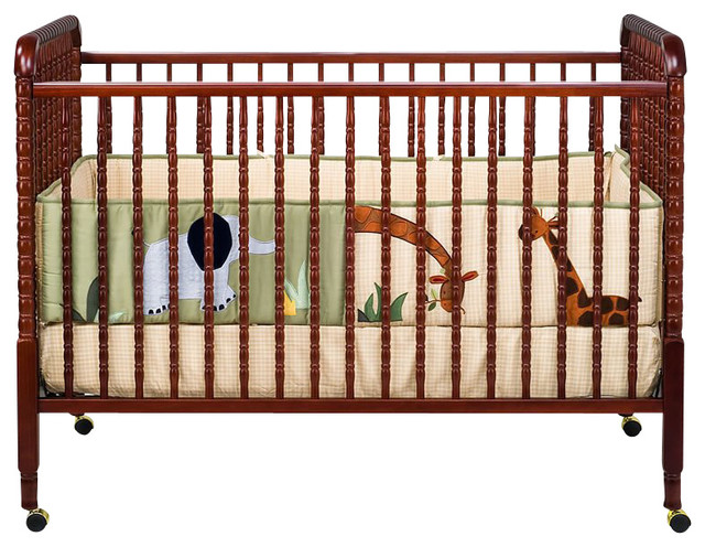 DaVinci Jenny Lind 3-in-1 Stationary Convertible Mobile Wood Crib in Cherry - Transitional - Cribs