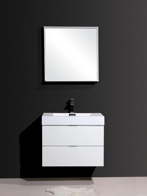 bliss 30 high gloss white wall mount modern bathroom vanity