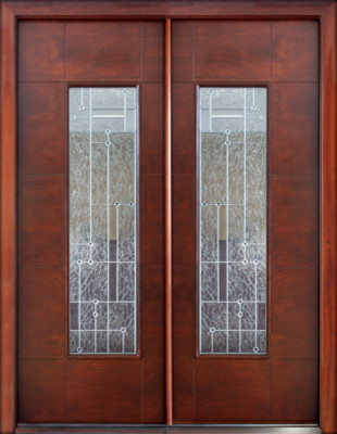 Florida approved double door prehung solid wood modern for Exterior double doors with glass