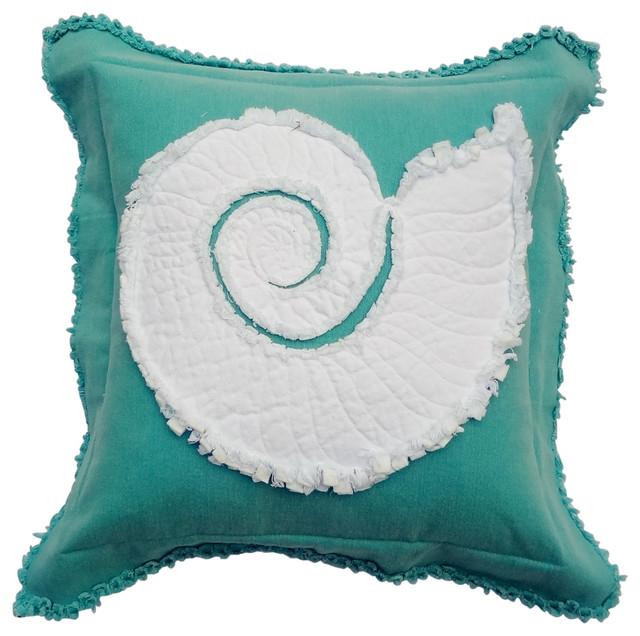 Coastal Nautilus Throw Pillow, White on Caribbean Blue - Beach Style - Decorative Pillows - by ...