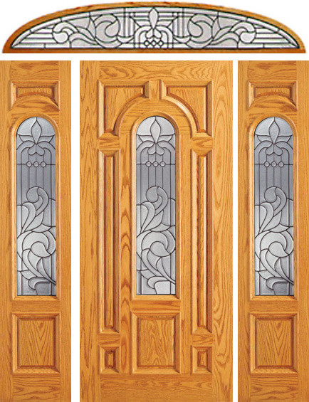 Prehung Mahogany Center Arch Lite Entry Door 2 Sidelites Transom Tradition