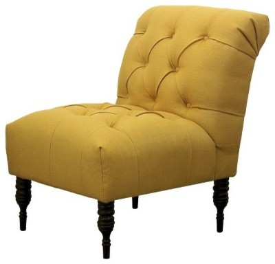 Vaughn Tufted Slipper Chair French Yellow Transitional