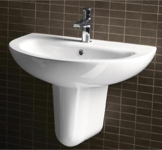 Curved Modern Wall Mounted Half Pedestal Bathroom Sink By