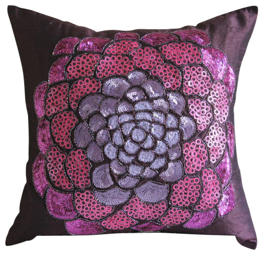 Purple Silk Throw Pillows : Pink WildFlower Purple Silk Throw Pillow Cover, 16x16 contemporary-decorative-pillows
