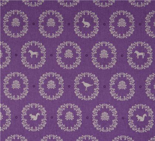 Purple Canvas Rug: Echino Canvas Kokka Fabric Ornaments Animals Purple