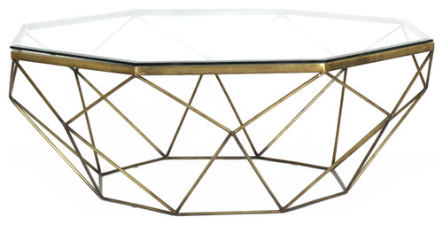 Dixon Geometric Modern Antique Brass Octagonal Coffee Table