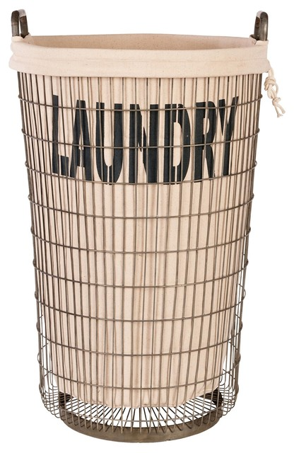 Aidan Gray Wire Laundry Basket With Linen - Eclectic - Hampers - by ...