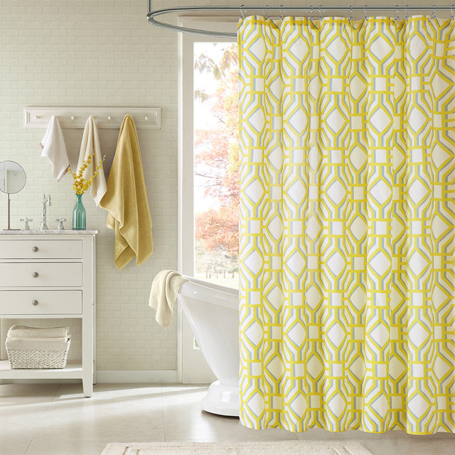 Intelligent design alana yellow geometric shower curtain - Intelligent shower ...