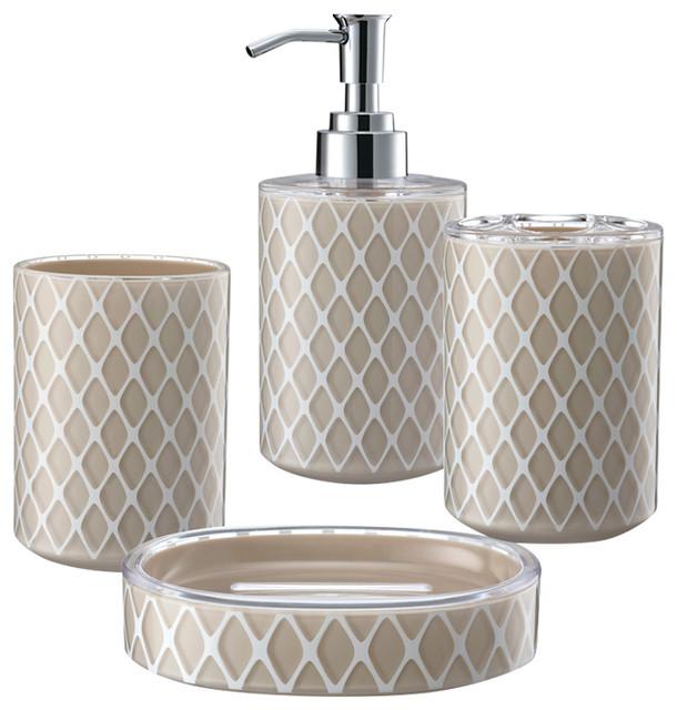 3d net work 4 piece bathroom accessory set beige modern for Beige bathroom accessories set