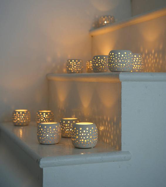 Kitchen lighting ceiling blue tea kitchens - Ceramic Tea Lights Modern Candleholders By Lavender Room