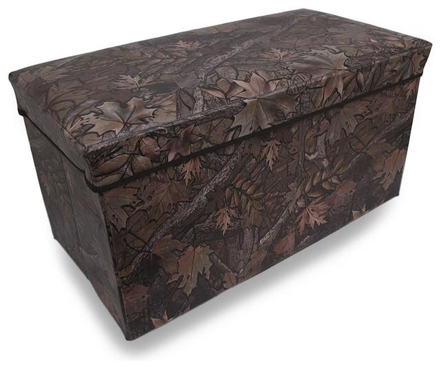 Leafy Forest Camouflage Folding Storage Chest Ottoman 27