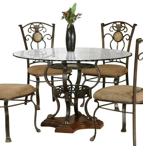 Cramco allegro round glass top dinette set for Traditional dining table for 8