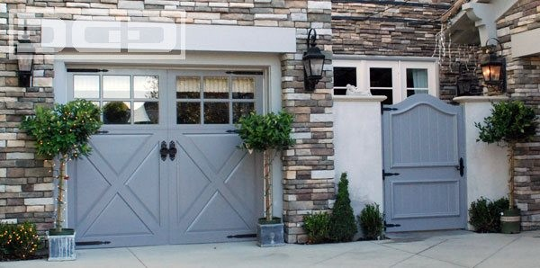 Custom carriage house garage doors with decorative french for French garage doors