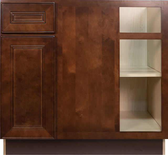 Cherry mahogany brown leo saddle blind corner base cabinet for Kitchen cabinets 36 x 42