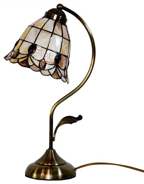 tiffany desk lamp with sea shell shade in arc arm style beach style. Black Bedroom Furniture Sets. Home Design Ideas
