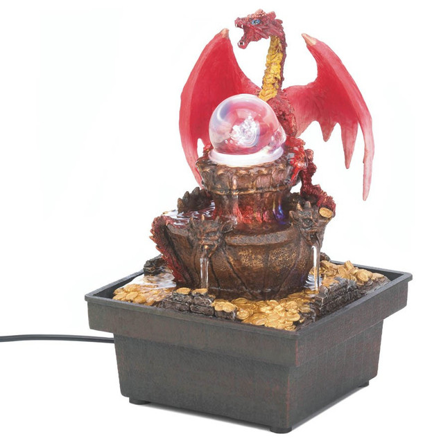 Red dragon tabletop water fountain asian indoor - Japanese indoor water fountain ...
